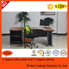 Executive L-Shape Office Furniture Table Design With Steel Legs