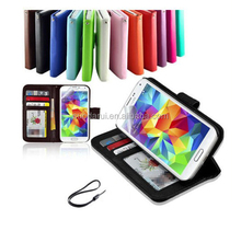 With Hand Strap Pouch For Samsung Galaxy S5 i9600 Crystal ID Card Pockets PU Leather Case