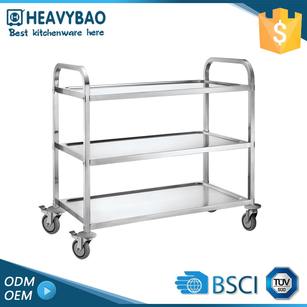 Heavybao Stainless Steel Knocked-down Table Kitchen Trolley Mobile Food Cart Design For
