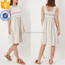 Sleeveless Rainbow Stripe Midi Women Dress OEM/ODM Women Apparel Clothing Garment Wholesaler