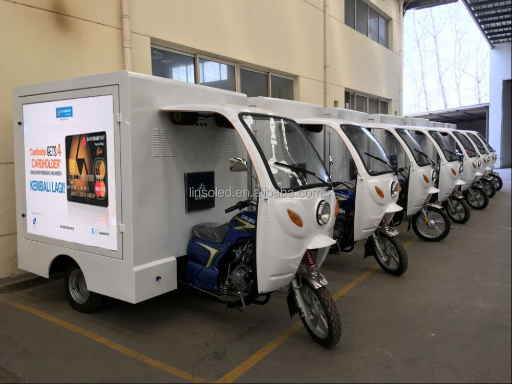 Shanghai Linso yeeso mobile advertising motorcycle,led display / lightbox trike for advertising