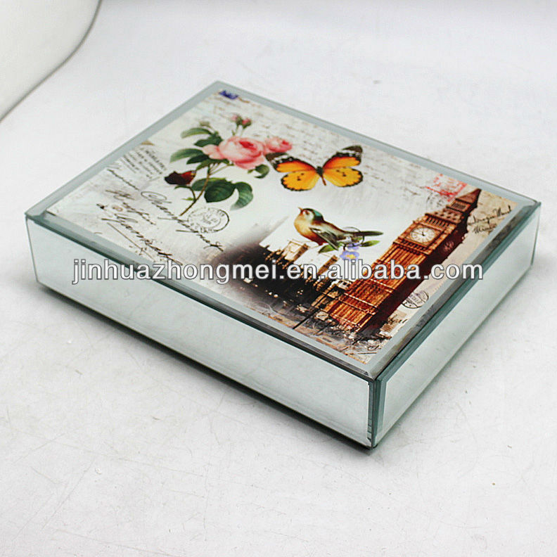 fasionable glass mirrored jewelry trinket box