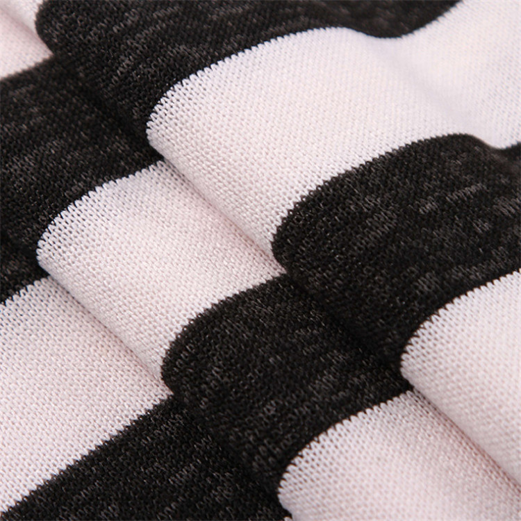 shaoxing 50% polyester 45% rayon 5% spandex Striped Knit Interlock Fabric for Baby Garment