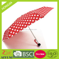 5 fold pocket umbrella, manual super light weight umbrella red with white polka dots for ladies