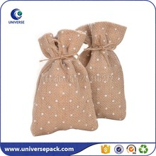 Fancy Customized Small Drawstring Jute Mesh Bag For Gift