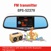 5 inch Touch Screen Rearview Mirror Gps with Bluetooth, MP5, DVR, AV-in, FM Transmitter