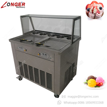 Factory Supply Thailand Double Pan Fry Ice Cream Roll Fried Ice Cream Machine with 4 Universal Wheels