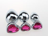New stainless steel heart shape metal jeweled butt plug