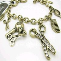 Hot Selling Clear Rhinestone Comb Hand Shear Hair Drier Scissors Charms Bracelet