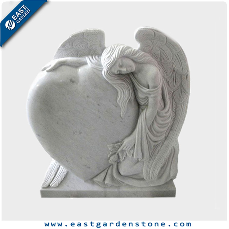 White marble sculpture grave monuments with angel statues