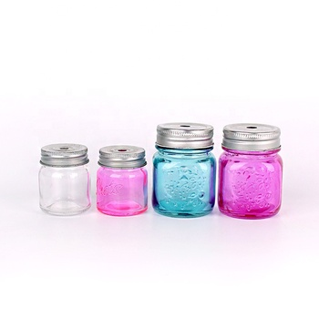 64ml Clear Wide Mouth Glass Mason Jar with Aluminum Lid and straw