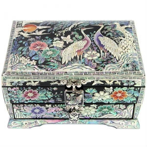 Korean Antique Black Lacquer Mother of Pearl Nacre Inlaid Jewelry Box GOGL#10272