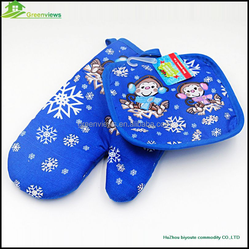 Christmas style cotton kitchen oven glove kitchen printed cotton insulation pad two-piece insulation gloves GVJMX01