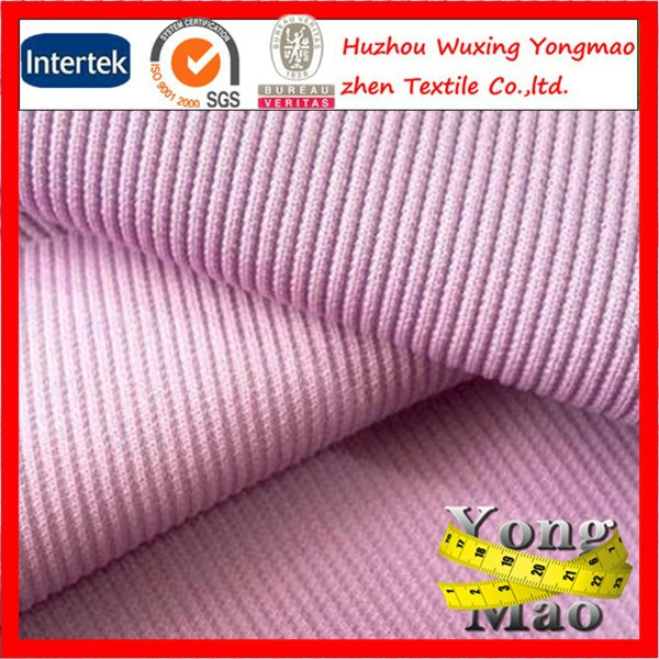 Huzhou manufacturer stretch polyester 1x1 2x2 rib tubular jersey knit fabric