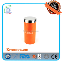 BSCI Factory -- LFGB tea coffee sugar canister set with s/s lids and body in orange color