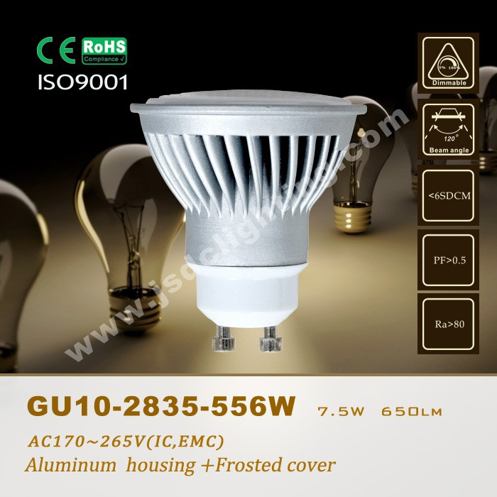 high lumen 7.5w 650lm gu10 led lights 120 degree