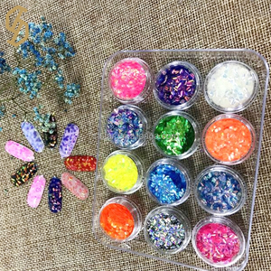 Diy various rainbow color powder fine flakes heat resistant glitter