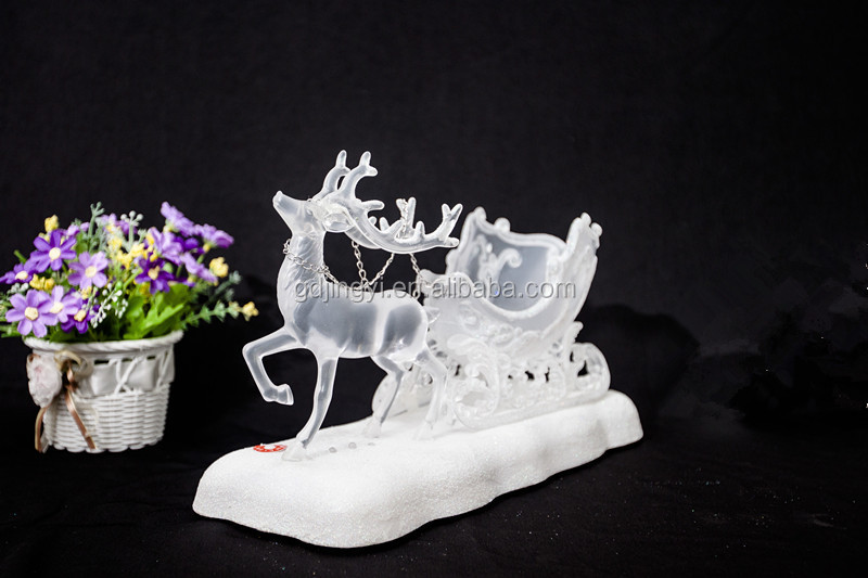 plastic acrylic led acrylic christmas reindeer with sleigh music decorations