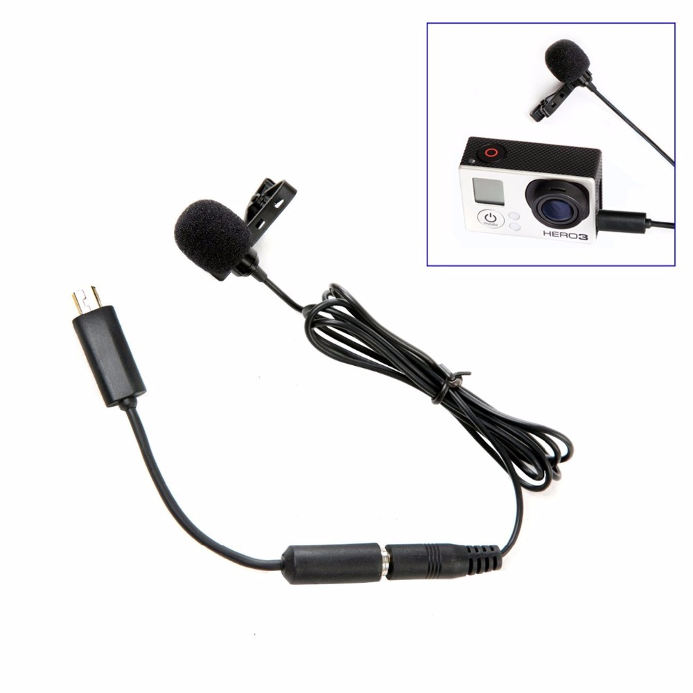 LM20 3.5mm Clip External Lavalier Microphone + Mini USB Adapter for Go Pro 4 3+ 3 2 Camcorders