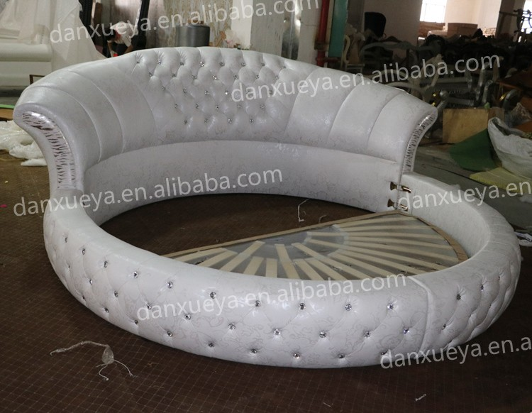 bedroom furniture modern design white leather round bed