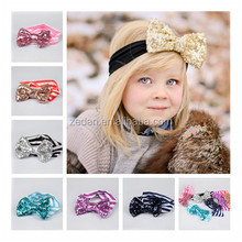New Designed Fancy Baby Headband Hair Bows For Girls Boutique Striped Sequin Headbands