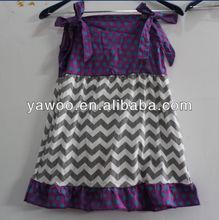 Latest zig zag Chevron Cotton Dress for Baby Girls Dress With butterfly Chevrn Dress for Kids for Summer