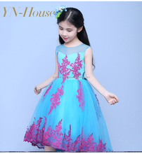 2016 New Arrival Ball Gown Scoop Appliqued Short Front Long Back Pageant Flower Girls Dresses For Children Prom Gown