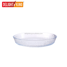 Round embossed design glass bakeware / baking dish / microwave heat-resistant glass baking tray