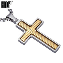 Fashion Gold Plated Stainless Steel Double Bible Cross Penant Necklace