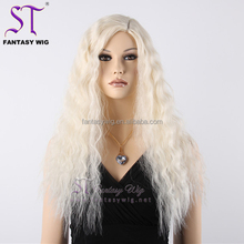 Wholesale european kosher wig with sample long flufy synthetic wig yaki