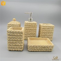 Hotel Bathroom Decoration Resin Bath Accessories Set Lotion Bottle Tooth Brush Holder Soap Dish