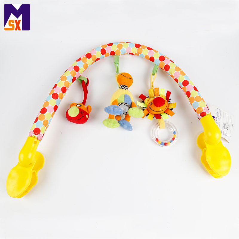 Baby Crib Hanging Plush Animal Toy Stroller and Travel Activity Bar
