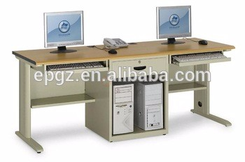 Double 2 Person Computer Laptop Desk with Keyboard Tray and CPU Holder for Staff