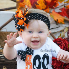 Promotional holloween gift fancy flower patten printed fabric baby headband 2016