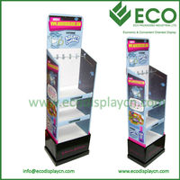 Glossy floor cardboard pdq display , cardboard magazine display stand , pos cardboard display