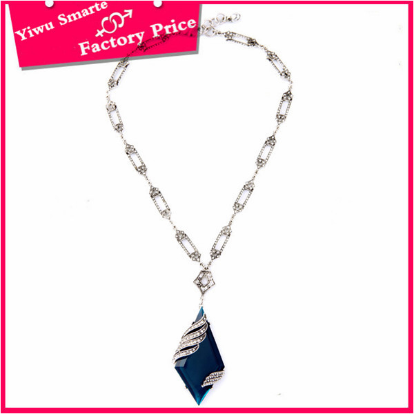 2016 New coming American indian jewellery infinity silver plated long chains necklace with blue pendant