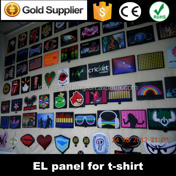 Hot selling fashion el panel tshirt in el product wholesale, 100% cotton el panel t shirt