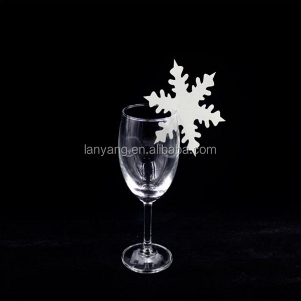SNOWFLAKE WINE GLASS NAME PLACE CARD WINTER WEDDING CHRISTMAS PARTY DECOR