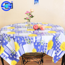 Economic fancy sunflower tablecloth flower designs round flannel backed vinyl tablecloth