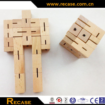 Cubot Wooden Puzzle HOT SALE, Transforming Robot Wooden Toys