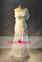 AEF017 Real Sample Beaded Long White One-Shoulder Wedding Dress