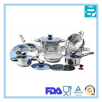 16pcs stainless steel blue lid cookware set