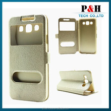 Dual window Folio side flip customize leather case for Samsung Galaxy E7