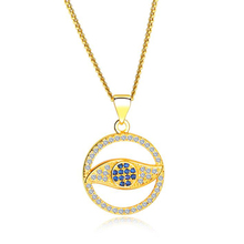 Quote High Quality Dainty Women Gold Plated Evil Eye Necklace With Cubic Zircon
