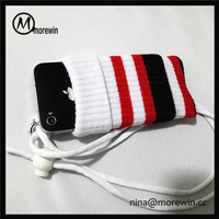 Morewin brand wholesale multi color cotton knitting mobile phone bag knitted phone case
