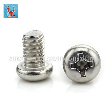 Hot sales SUS304 stainless steel cross recessed pan head machinery screw GB818 PM M4