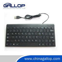 2016 New Product black Mini Multimedia Computer Keyboard with 2 usb hub