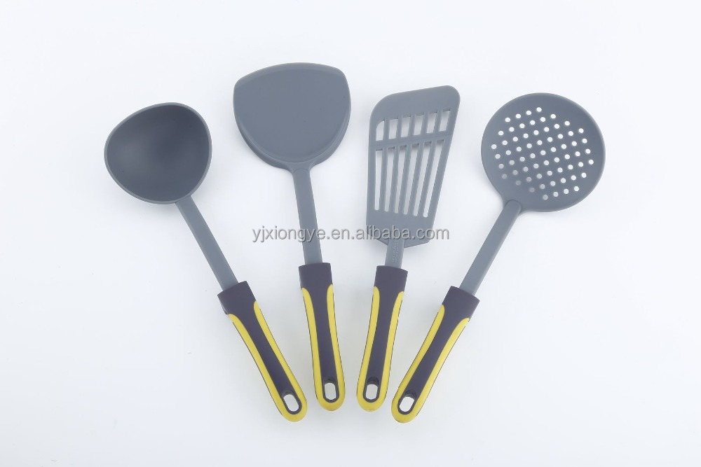 Plastic Kitchen Utensils for Non-stick Cookware with 20 Different Nylon Function Parts and 2 colors handles