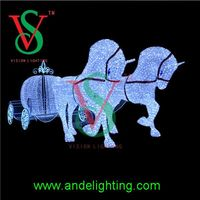 2016 supper hot sale horse carriage santa claus chirstmas motif light