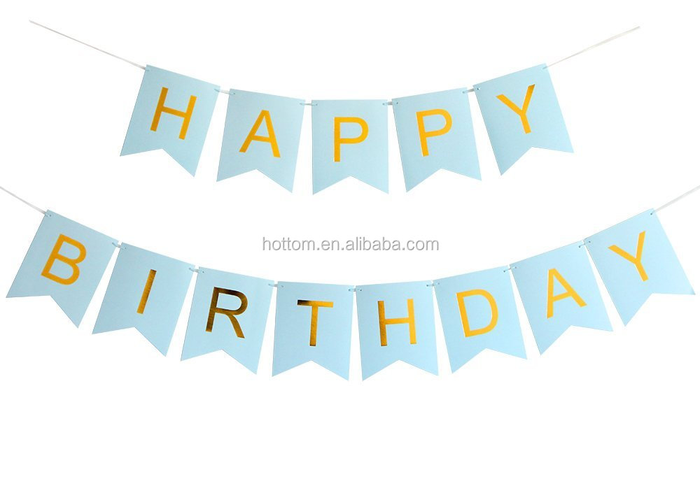 Happy Birthday Banner Blue and Gold Letters Birthday Bunting Stylish Decorations and Party Supplies